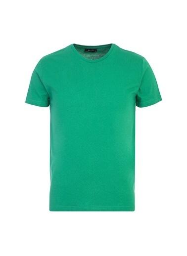 Kiğılı Bisiklet Yaka Slim Fit Tişört Yeşil